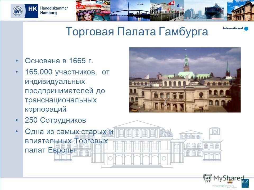 International Торговая Палата Гамбурга Основана в 1665 г. 165.000 участников, от индивидуальных предпринимателей до транснациональных корпораций 250 Сотрудников Одна из самых старых и влиятельных Торговых палат Европы