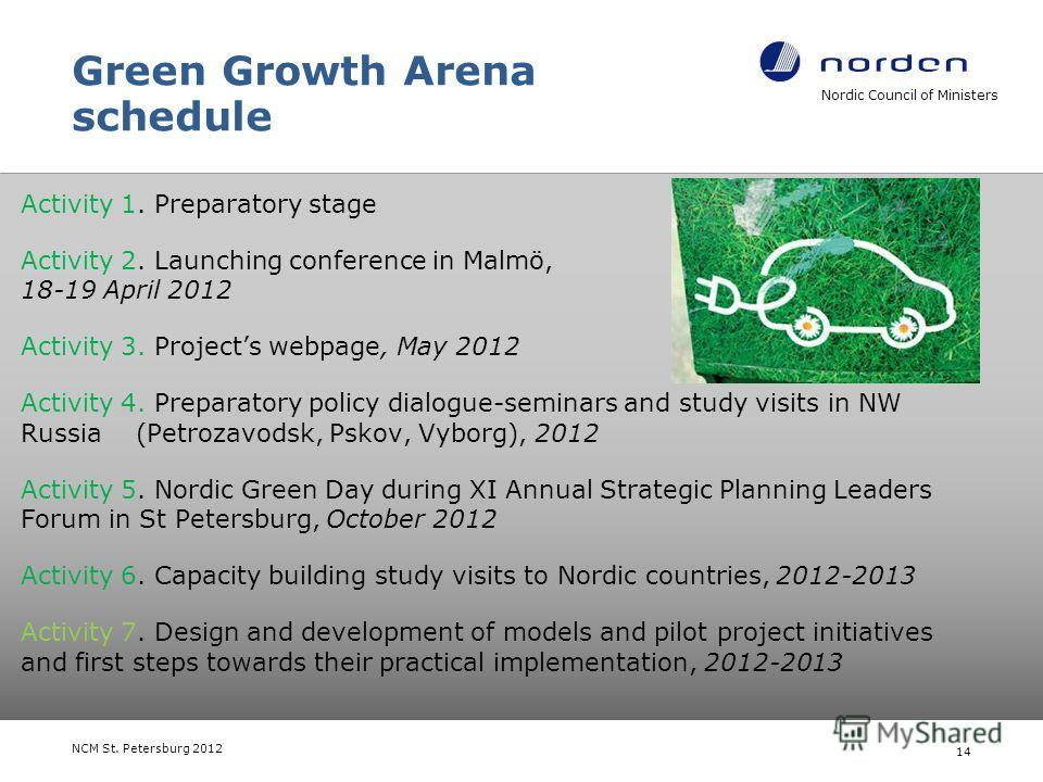 Green Growth Arena schedule Activity 1. Preparatory stage Activity 2. Launching conference in Malmö, 18-19 April 2012 Activity 3. Projects webpage, May 2012 Activity 4. Preparatory policy dialogue-seminars and study visits in NW Russia (Petrozavodsk,