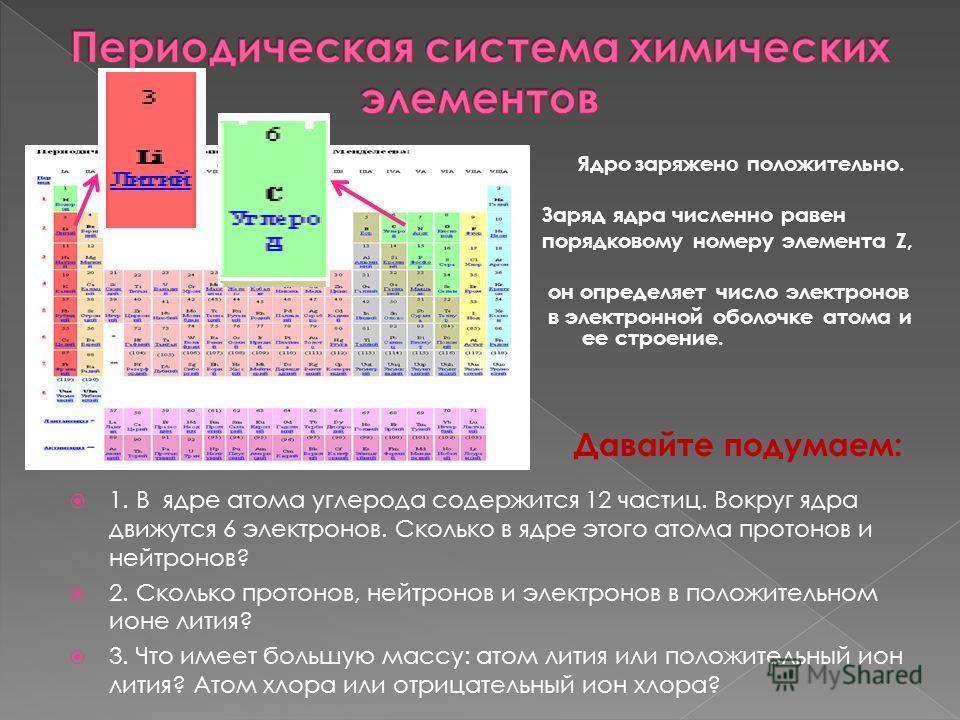 1. В ядре атома углерода содержится 12 частиц. Вокруг ядра движутся 6 электронов. Сколько в ядре этого атома протонов и нейтронов? 2. Сколько протонов, нейтронов и электронов в положительном ионе лития? 3. Что имеет большую массу: атом лития или поло