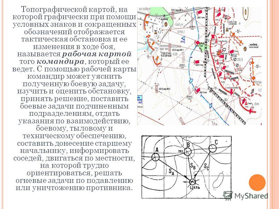 Топографической картой, на которой графически при помощи условных знаков и сокращенных обозначений отображается тактическая обстановка и ее изменения в ходе боя, называется рабочая картой того командира, который ее ведет. С помощью рабочей карты кома