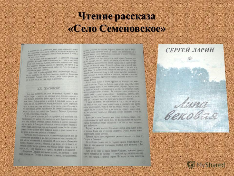 Чтение рассказа «Село Семеновское»