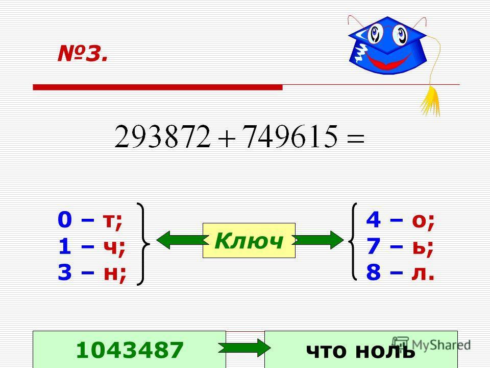 3. 0 – т; 1 – ч; 3 – н; 4 – о; 7 – ь; 8 – л. Ключ 1043487что ноль