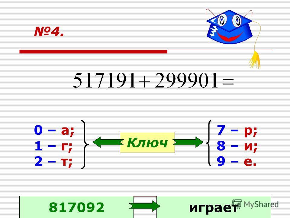4. 0 – а; 1 – г; 2 – т; 7 – р; 8 – и; 9 – е. Ключ 817092играет