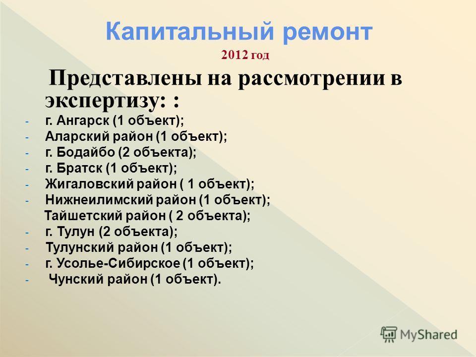 2012 год Представлены на рассмотрении в экспертизу: : - г. Ангарск (1 объект); - Аларский район (1 объект); - г. Бодайбо (2 объекта); - г. Братск (1 объект); - Жигаловский район ( 1 объект); - Нижнеилимский район (1 объект); Тайшетский район ( 2 объе
