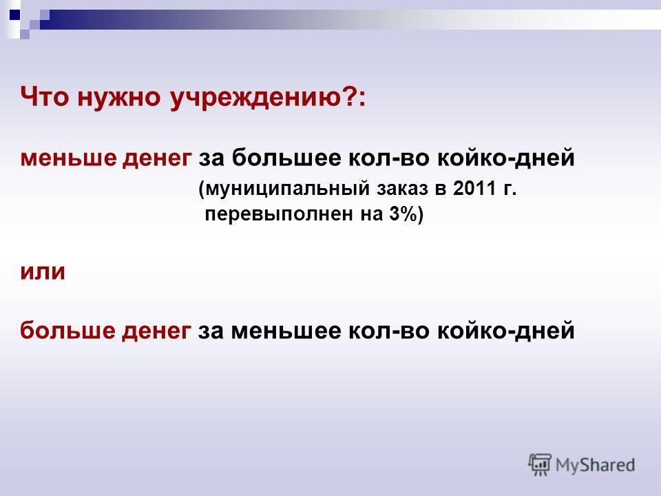 Что нужно учреждению?: меньше денег за большее кол-во койко-дней (муниципальный заказ в 2011 г. перевыполнен на 3%) или больше денег за меньшее кол-во койко-дней