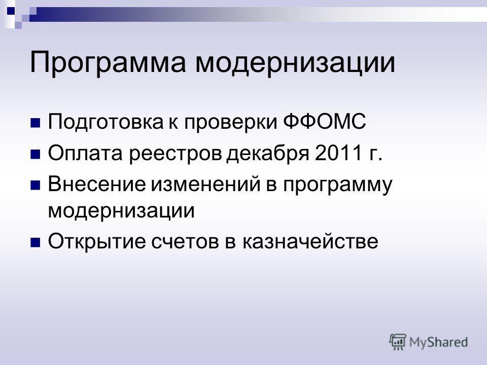 Программа модернизации Подготовка к проверки ФФОМС Оплата реестров декабря 2011 г. Внесение изменений в программу модернизации Открытие счетов в казначействе