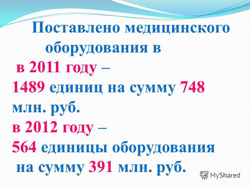 Поставлено медицинского оборудования в в 2011 году – 1489 единиц на сумму 748 млн. руб. в 2012 году – 564 единицы оборудования на сумму 391 млн. руб.