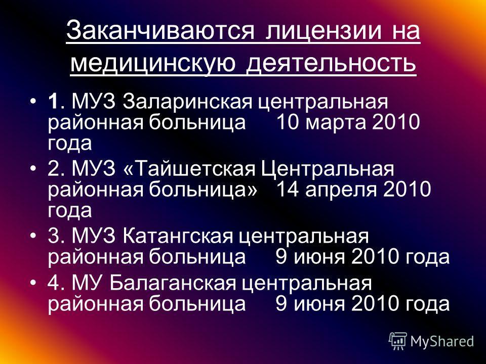 Заканчиваются лицензии на медицинскую деятельность 1. МУЗ Заларинская центральная районная больница 10 марта 2010 года 2. МУЗ «Тайшетская Центральная районная больница» 14 апреля 2010 года 3. МУЗ Катангская центральная районная больница 9 июня 2010 г