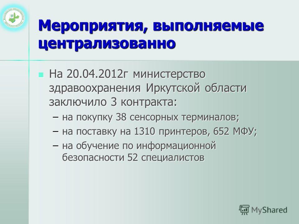 Мероприятия, выполняемые централизованно На 20.04.2012г министерство здравоохранения Иркутской области заключило 3 контракта: На 20.04.2012г министерство здравоохранения Иркутской области заключило 3 контракта: –на покупку 38 сенсорных терминалов; –н