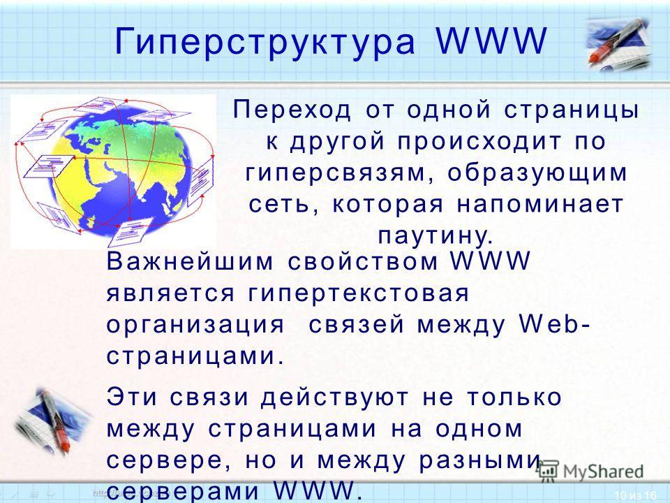 10 из 16 Гиперструктура WWW Важнейшим свойством WWW является гипертекстовая организация связей между Web- страницами. Эти связи действуют не только между страницами на одном сервере, но и между разными серверами WWW. Переход от одной страницы к друго