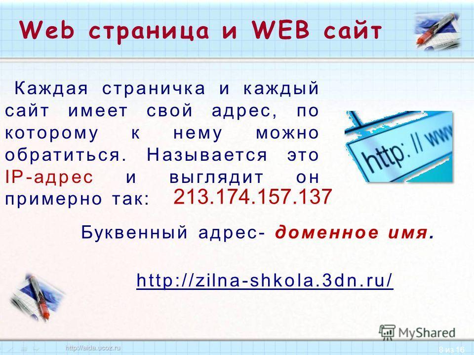 8 из 16 Web страница и WEB сайт Каждая страничка и каждый сайт имеет свой адрес, по которому к нему можно обратиться. Называется это IP-адрес и выглядит он примерно так: 213.174.157.137 Буквенный адрес- доменное имя. http://zilna-shkola.3dn.ru/