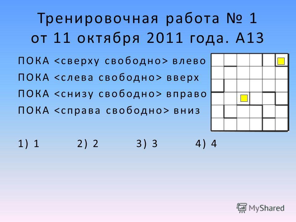 ПОКА влево ПОКА вверх ПОКА вправо ПОКА вниз 1) 1 2) 2 3) 3 4) 4 Тренировочная работа 1 от 11 октября 2011 года. А13