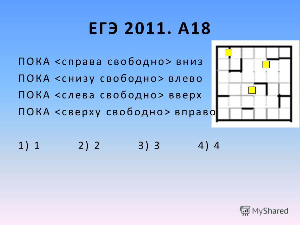 ЕГЭ 2011. А18 ПОКА вниз ПОКА влево ПОКА вверх ПОКА вправо 1) 1 2) 2 3) 3 4) 4