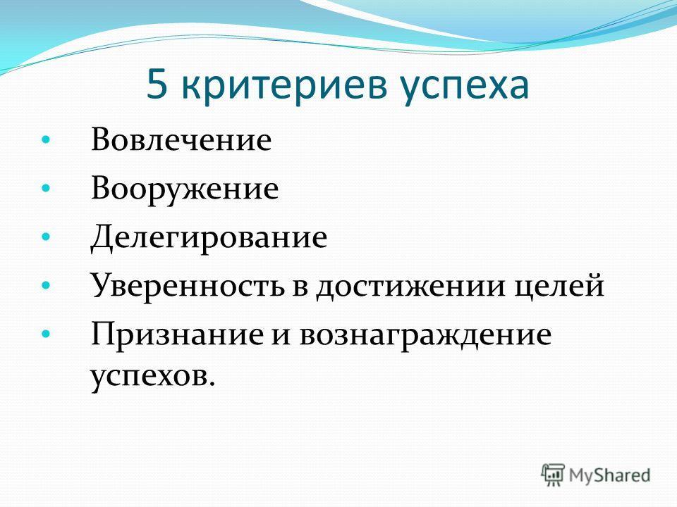 5 критериев успеха Вовлечение Вооружение Делегирование Уверенность в достижении целей Признание и вознаграждение успехов.