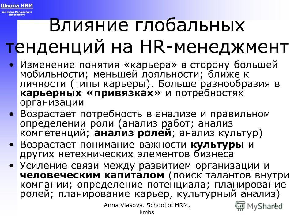 Anna Vlasova. School of HRM, kmbs 4 Влияние глобальных тенденций на HR-менеджмент Изменение понятия «карьера» в сторону большей мобильности; меньшей лояльности; ближе к личности (типы карьеры). Больше разнообразия в карьерных «привязках» и потребност
