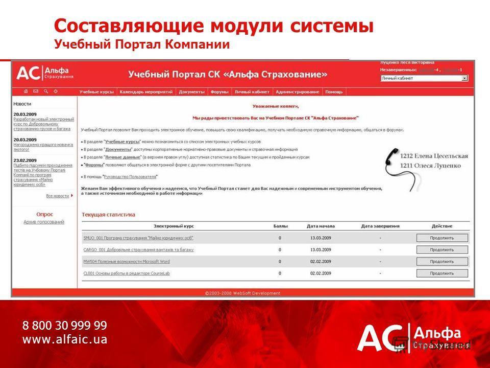 Составляющие модули системы Учебный Портал Компании 8 800 30 999 99 w w w. a l f a i c. u a