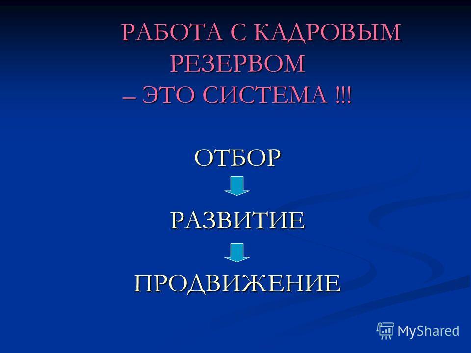 РАБОТА С КАДРОВЫМ РЕЗЕРВОМ – ЭТО СИСТЕМА !!! ОТБОР РАЗВИТИЕ ПРОДВИЖЕНИЕ