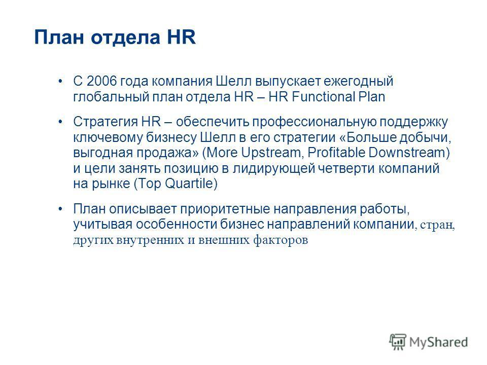 План отдела HR С 2006 года компания Шелл выпускает ежегодный глобальный план отдела HR – HR Functional Plan Стратегия HR – обеспечить профессиональную поддержку ключевому бизнесу Шелл в его стратегии «Больше добычи, выгодная продажа» (More Upstream,