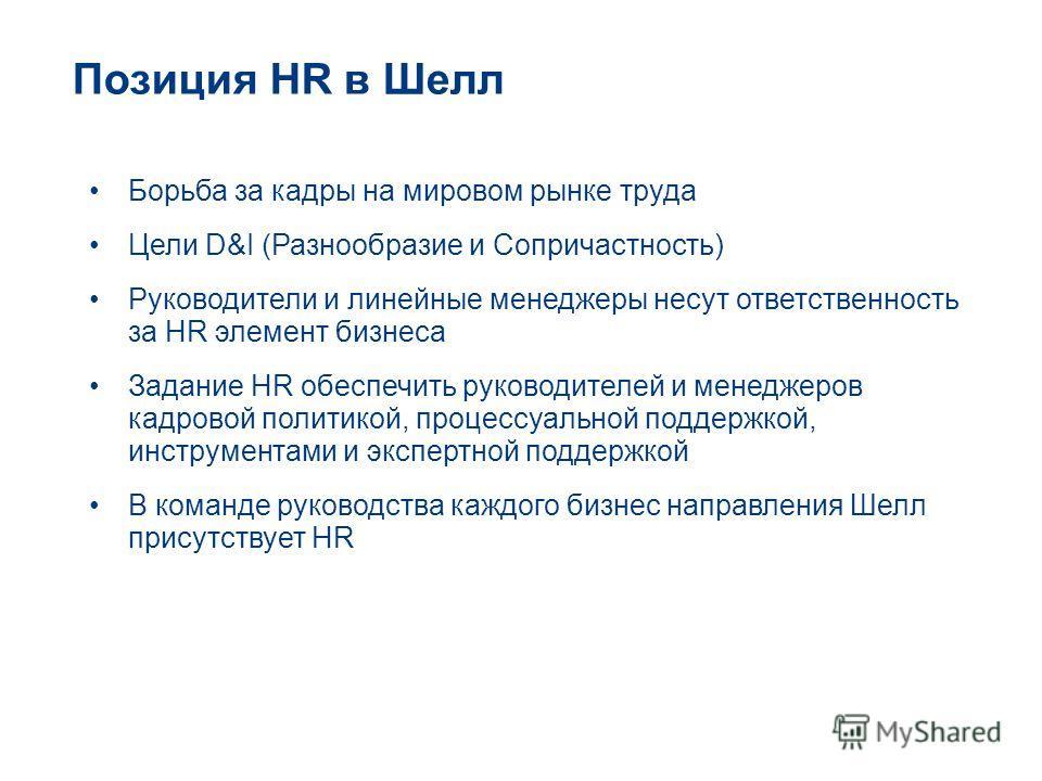 Позиция HR в Шелл Борьба за кадры на мировом рынке труда Цели D&I (Разнообразие и Сопричастность) Руководители и линейные менеджеры несут ответственность за HR элемент бизнеса Задание HR обеспечить руководителей и менеджеров кадровой политикой, проце