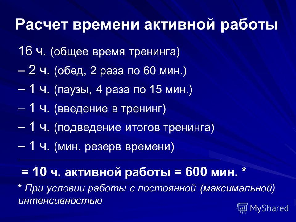 Расчет времени активной работы 16 ч. (общее время тренинга) – 2 ч. (обед, 2 раза по 60 мин.) – 1 ч. (паузы, 4 раза по 15 мин.) – 1 ч. (введение в тренинг) – 1 ч. (подведение итогов тренинга) – 1 ч. (мин. резерв времени) ______________________________