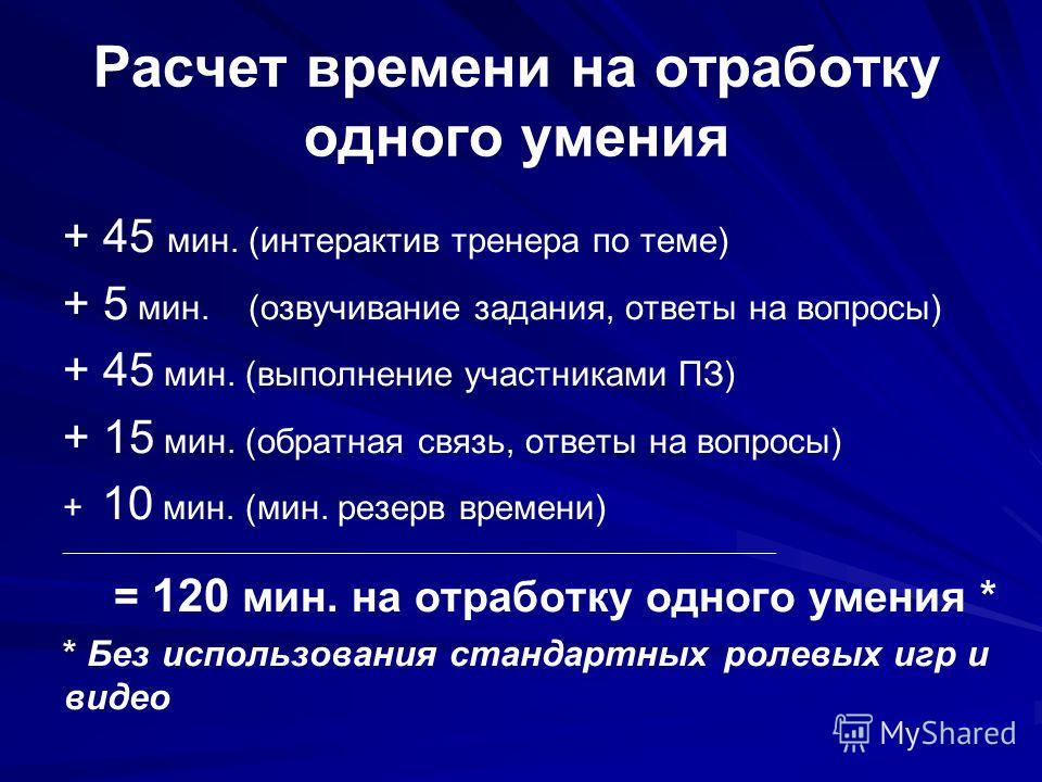 + 45 мин. (интерактив тренера по теме) + 5 мин. (озвучивание задания, ответы на вопросы) + 45 мин. (выполнение участниками ПЗ) + 15 мин. (обратная связь, ответы на вопросы) + 10 мин. (мин. резерв времени) _____________________________________________