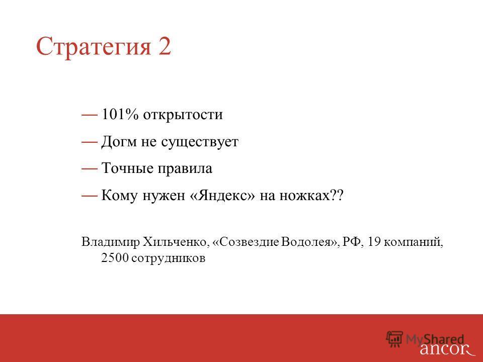 Стратегия 2 101% открытости Догм не существует Точные правила Кому нужен «Яндекс» на ножках?? Владимир Хильченко, «Созвездие Водолея», РФ, 19 компаний, 2500 сотрудников