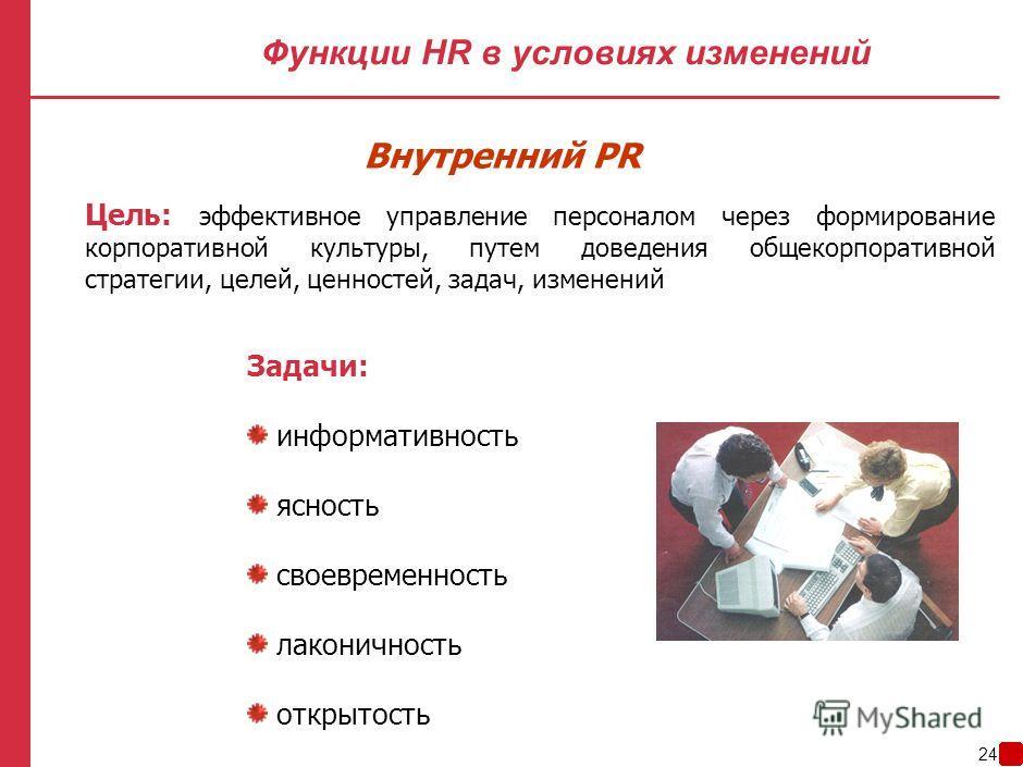 23 Функции HR в условиях изменений Планирование Удержание Оценка Мотивация Внутренний PR Обучение и развитие