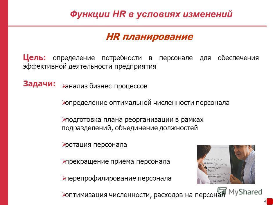 7 Функции HR в условиях изменений Планирование Удержание Оценка Мотивация Внутренний PR Обучение и развитие