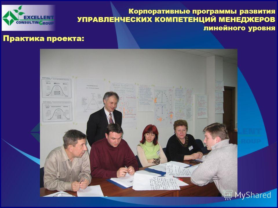 Корпоративные программы развития УПРАВЛЕНЧЕСКИХ КОМПЕТЕНЦИЙ МЕНЕДЖЕРОВ линейного уровня Практика проекта: