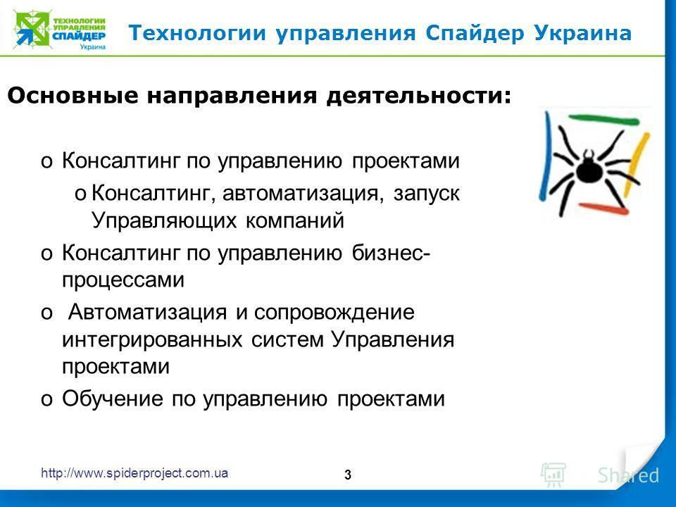 http://www.spiderproject.com.ua 3 Основные направления деятельности: oКонсалтинг по управлению проектами oКонсалтинг, автоматизация, запуск Управляющих компаний oКонсалтинг по управлению бизнес- процессами o Автоматизация и сопровождение интегрирован