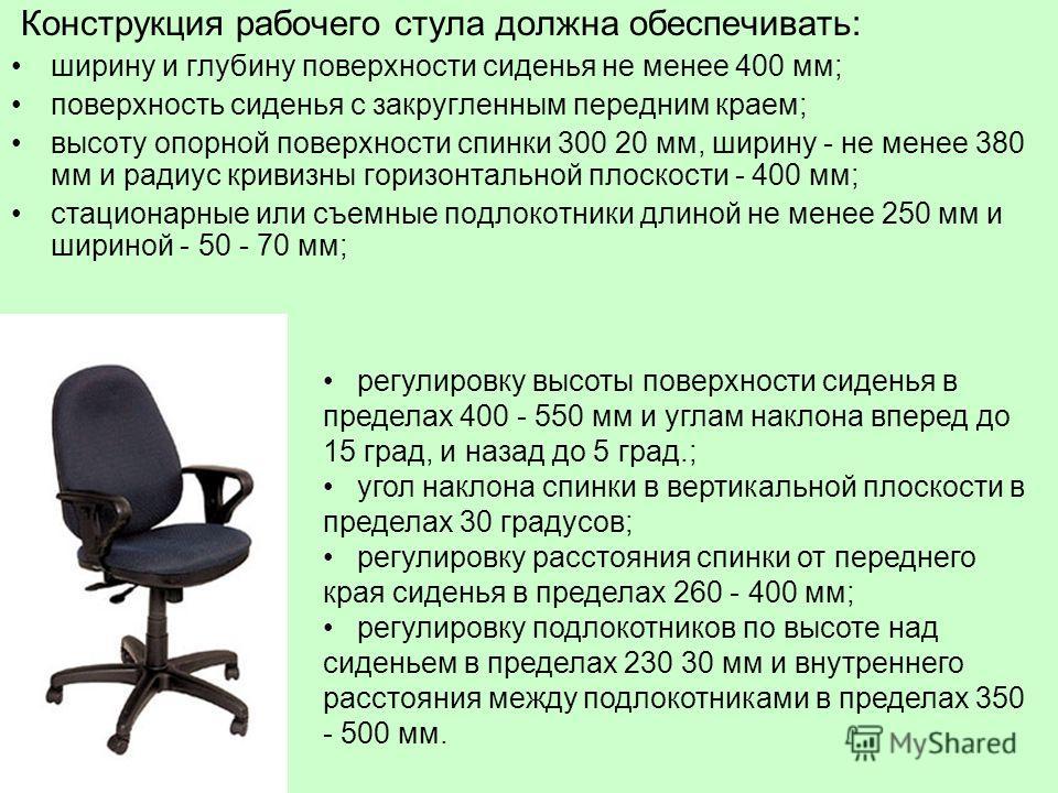 Конструкция рабочего стула должна обеспечивать: ширину и глубину поверхности сиденья не менее 400 мм; поверхность сиденья с закругленным передним краем; высоту опорной поверхности спинки 300 20 мм, ширину - не менее 380 мм и радиус кривизны горизонта