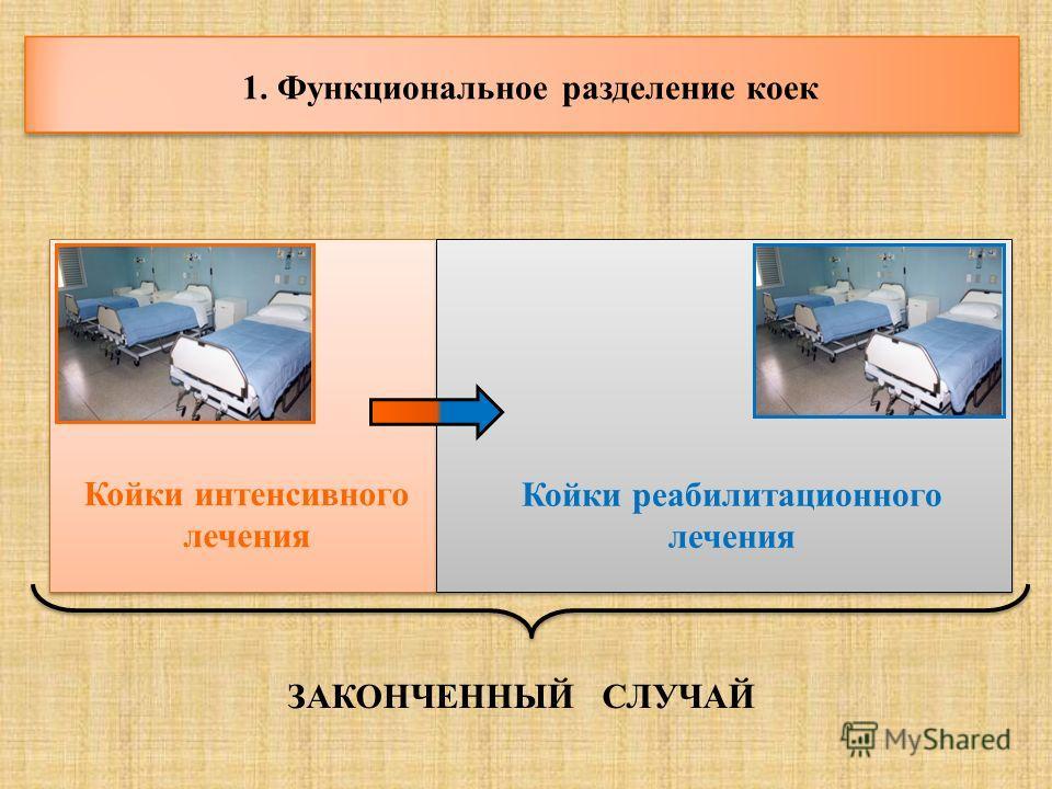 1. Функциональное разделение коек Койки интенсивного лечения Койки реабилитационного лечения ЗАКОНЧЕННЫЙ СЛУЧАЙ