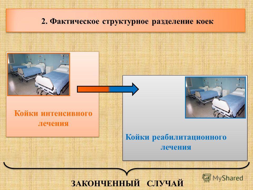2. Фактическое структурное разделение коек Койки интенсивного лечения Койки реабилитационного лечения ЗАКОНЧЕННЫЙ СЛУЧАЙ
