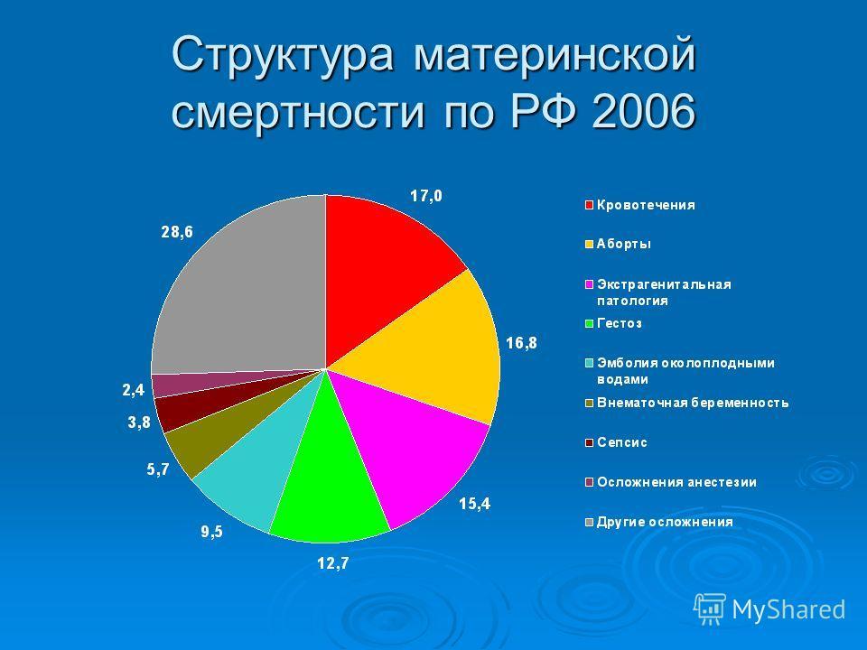 Структура материнской смертности по РФ 2006