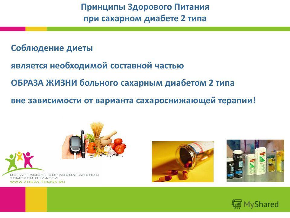 Принципы Здорового Питания при сахарном диабете 2 типа Соблюдение диеты является необходимой составной частью ОБРАЗА ЖИЗНИ больного сахарным диабетом 2 типа вне зависимости от варианта сахароснижающей терапии!