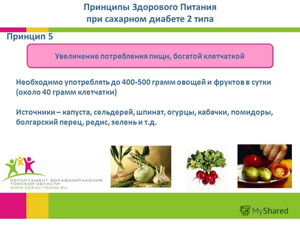 Принципы Здорового Питания при сахарном диабете 2 типа Увеличение потребления пищи, богатой клетчаткой Принцип 5 Необходимо употреблять до 400-500 грамм овощей и фруктов в сутки (около 40 грамм клетчатки) Источники – капуста, сельдерей, шпинат, огурц