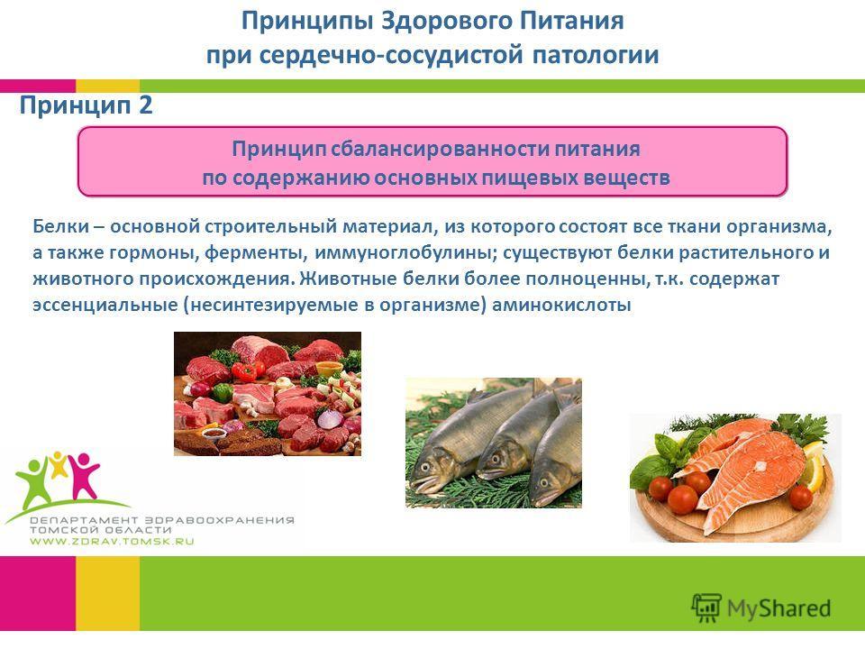 Принцип 2 Принципы Здорового Питания при сердечно-сосудистой патологии Белки – основной строительный материал, из которого состоят все ткани организма, а также гормоны, ферменты, иммуноглобулины; существуют белки растительного и животного происхожден