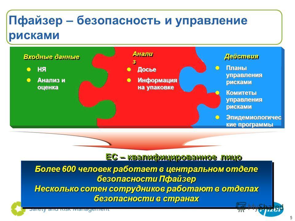 5 Пфайзер – безопасность и управление рисками lНЯ lАнализ и оценка lНЯ lАнализ и оценка lДосье lИнформация на упаковке lДосье lИнформация на упаковке lПланы управления рисками lКомитеты управления рисками lЭпидемиологичес кие программы lПланы управле