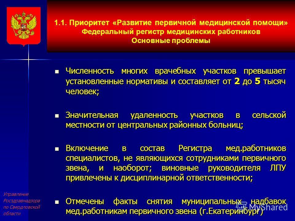 УправлениеРосздравнадзора по Свердловской области Численность многих врачебных участков превышает установленные нормативы и составляет от 2 до 5 тысяч человек; Численность многих врачебных участков превышает установленные нормативы и составляет от 2