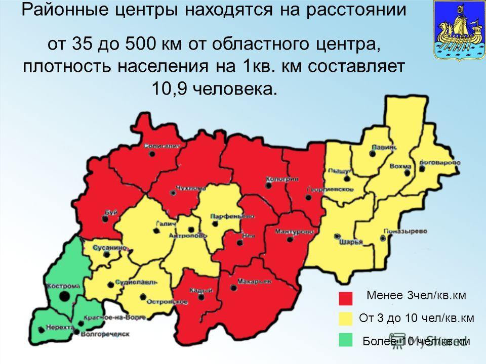 Районные центры находятся на расстоянии от 35 до 500 км от областного центра, плотность населения на 1кв. км составляет 10,9 человека. Менее 3чел/кв.км От 3 до 10 чел/кв.км Более 10 чел/кв.км