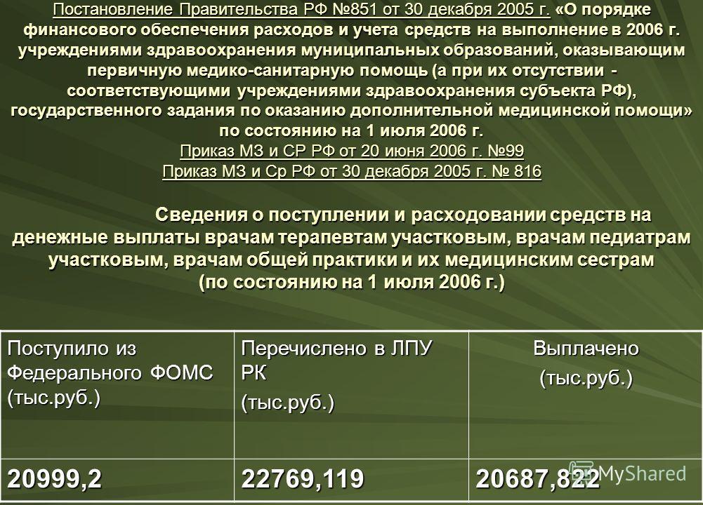 Постановление Правительства РФ 851 от 30 декабря 2005 г. «О порядке финансового обеспечения расходов и учета средств на выполнение в 2006 г. учреждениями здравоохранения муниципальных образований, оказывающим первичную медико-санитарную помощь (а при
