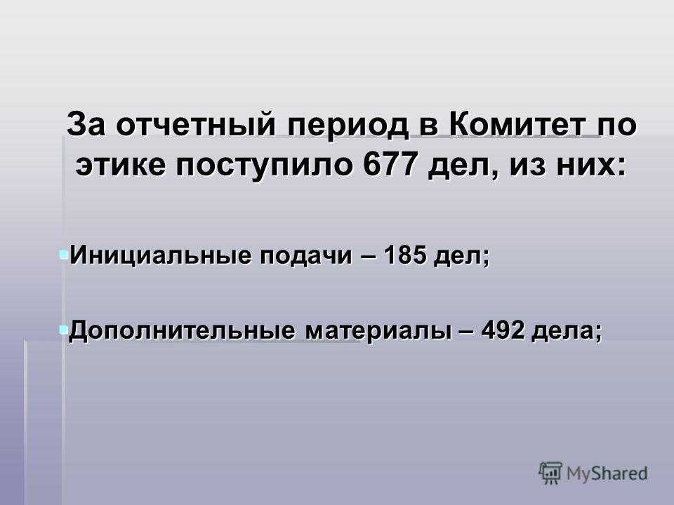 За отчетный период в Комитет по этике поступило 677 дел, из них: Инициальные подачи – 185 дел; Инициальные подачи – 185 дел; Дополнительные материалы – 492 дела; Дополнительные материалы – 492 дела;