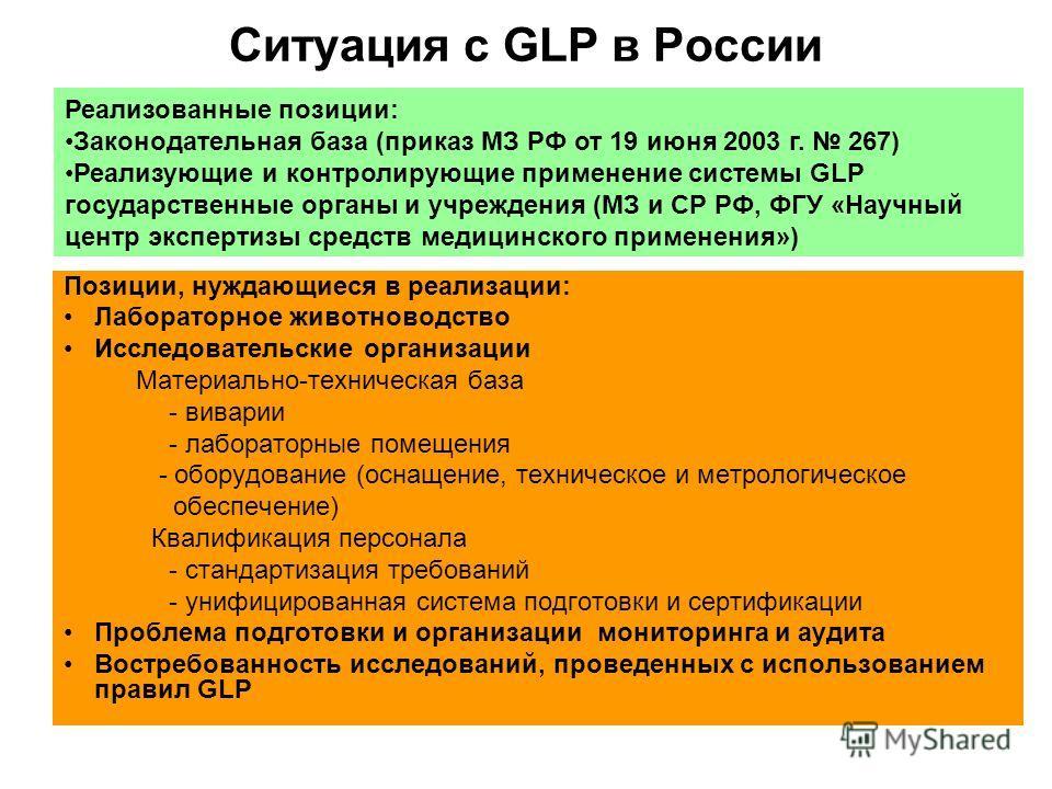 Ситуация с GLP в России Позиции, нуждающиеся в реализации: Лабораторное животноводство Исследовательские организации Материально-техническая база - виварии - лабораторные помещения - оборудование (оснащение, техническое и метрологическое обеспечение)