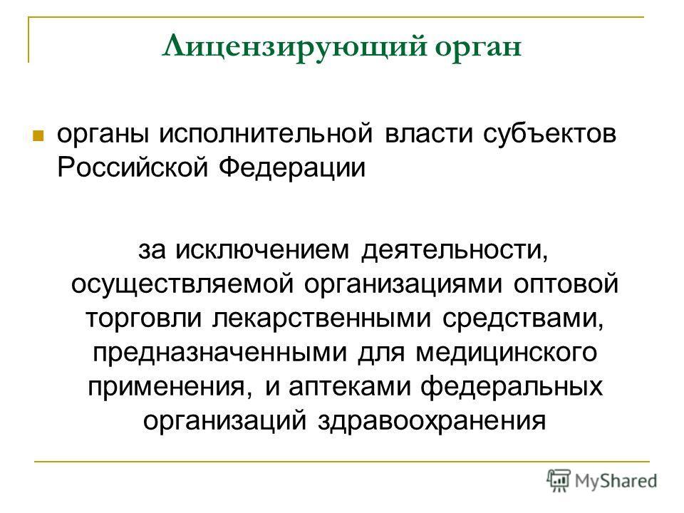 Лицензирующий орган органы исполнительной власти субъектов Российской Федерации за исключением деятельности, осуществляемой организациями оптовой торговли лекарственными средствами, предназначенными для медицинского применения, и аптеками федеральных