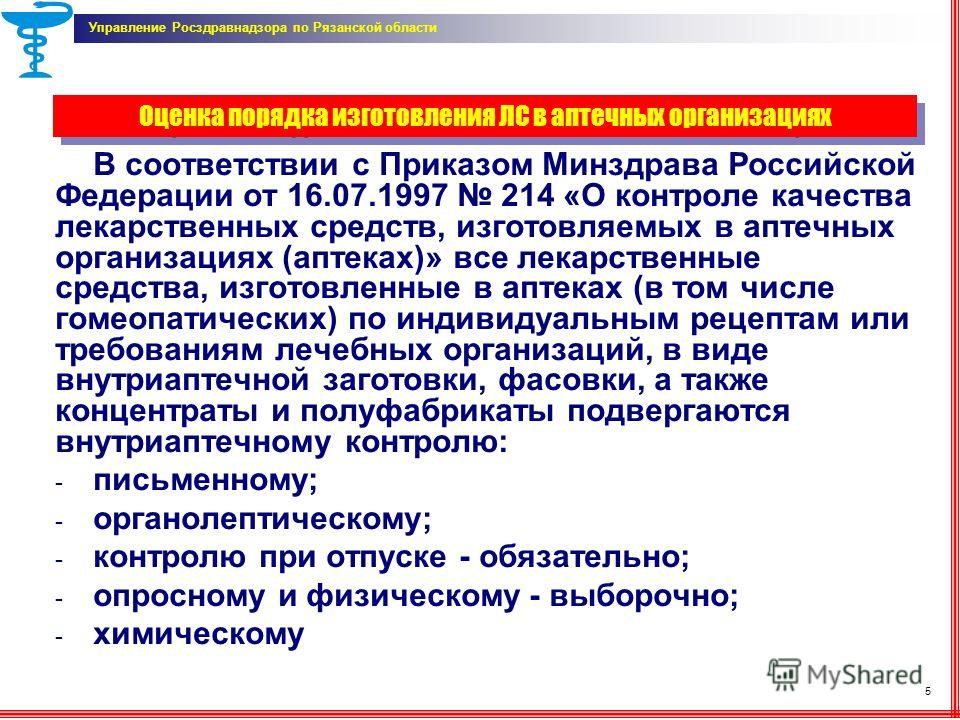 Оценка порядка изготовления ЛС в аптечных организациях В соответствии с Приказом Минздрава Российской Федерации от 16.07.1997 214 «О контроле качества лекарственных средств, изготовляемых в аптечных организациях (аптеках)» все лекарственные средства,