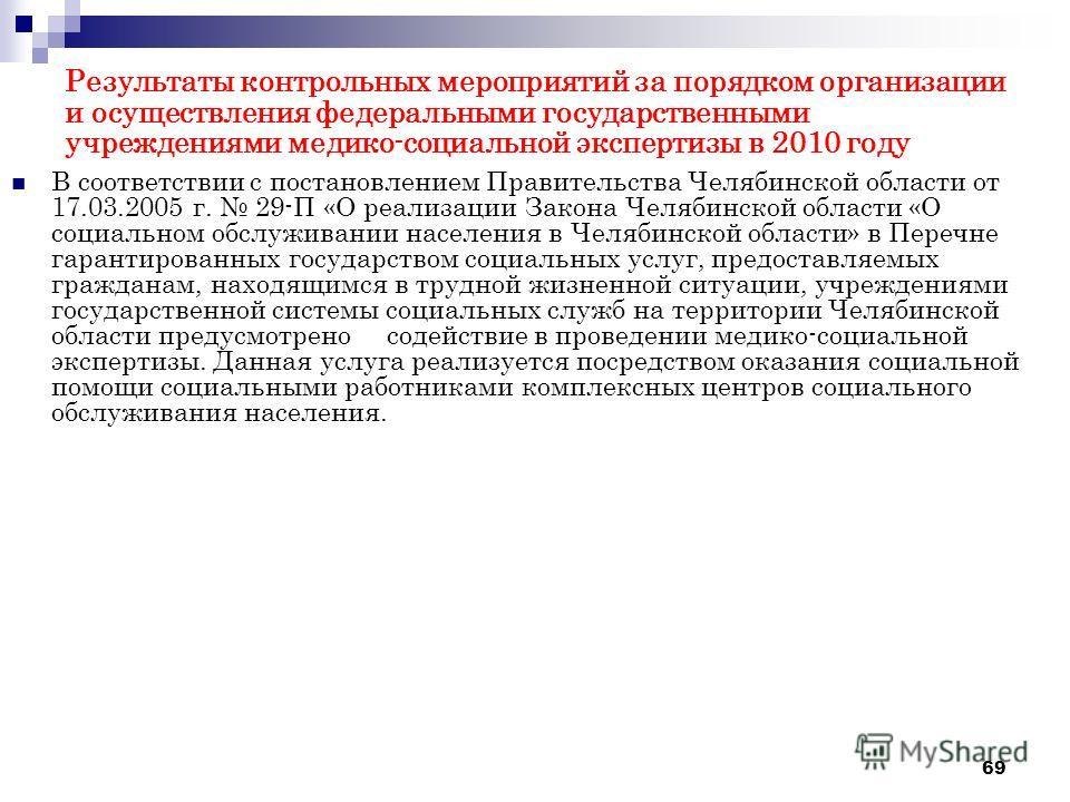 69 Результаты контрольных мероприятий за порядком организации и осуществления федеральными государственными учреждениями медико-социальной экспертизы в 2010 году В соответствии с постановлением Правительства Челябинской области от 17.03.2005 г. 29-П