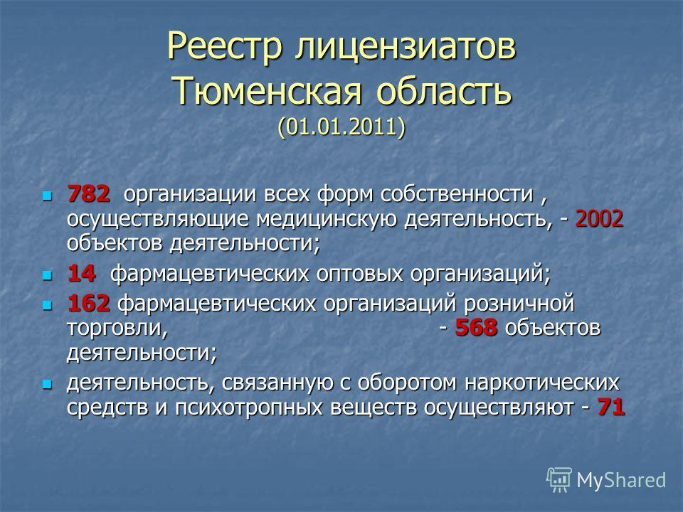 Реестр лицензиатов Тюменская область (01.01.2011) 782 организации всех форм собственности, осуществляющие медицинскую деятельность, - 2002 объектов деятельности; 782 организации всех форм собственности, осуществляющие медицинскую деятельность, - 2002
