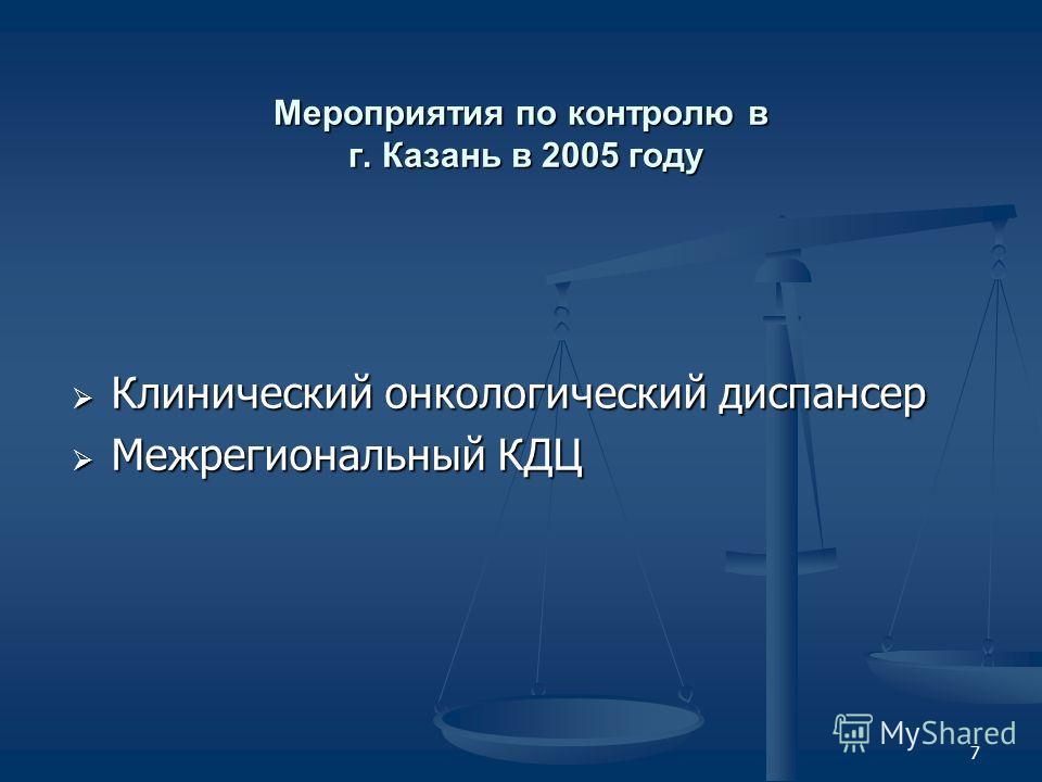7 Мероприятия по контролю в г. Казань в 2005 году Клинический онкологический диспансер Клинический онкологический диспансер Межрегиональный КДЦ Межрегиональный КДЦ