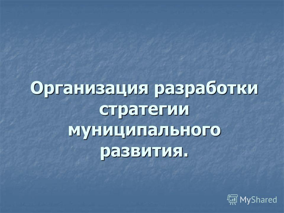 Организация разработки стратегии муниципального развития.