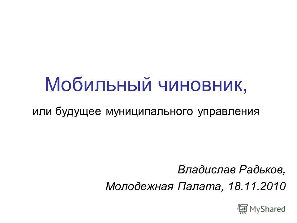 Мобильный чиновник, или будущее муниципального управления Владислав Радьков, Молодежная Палата, 18.11.2010